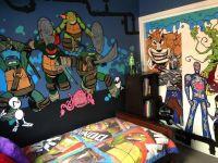 Hand painted Teenage Mutant Ninja Turtle bedroom wall ...