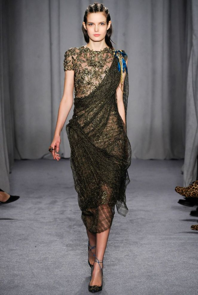 marchesa fall 2014 rtw green gold chiffon embellished dress