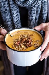 Brie + Cheddar Apple Beer Soup with Cinnamon Pecan Oat Crumble | Half Baked Harvest