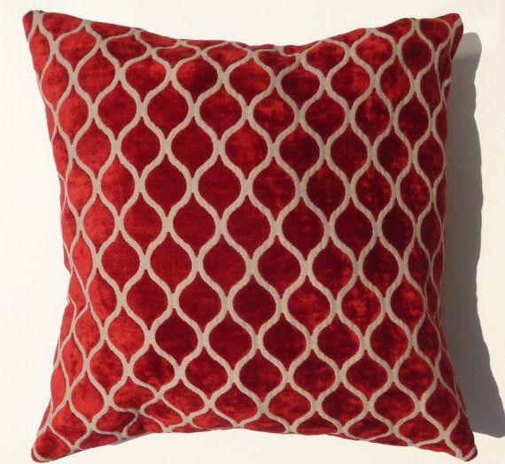 Red velvet Pillow Case Decorative Cushion cover Modern