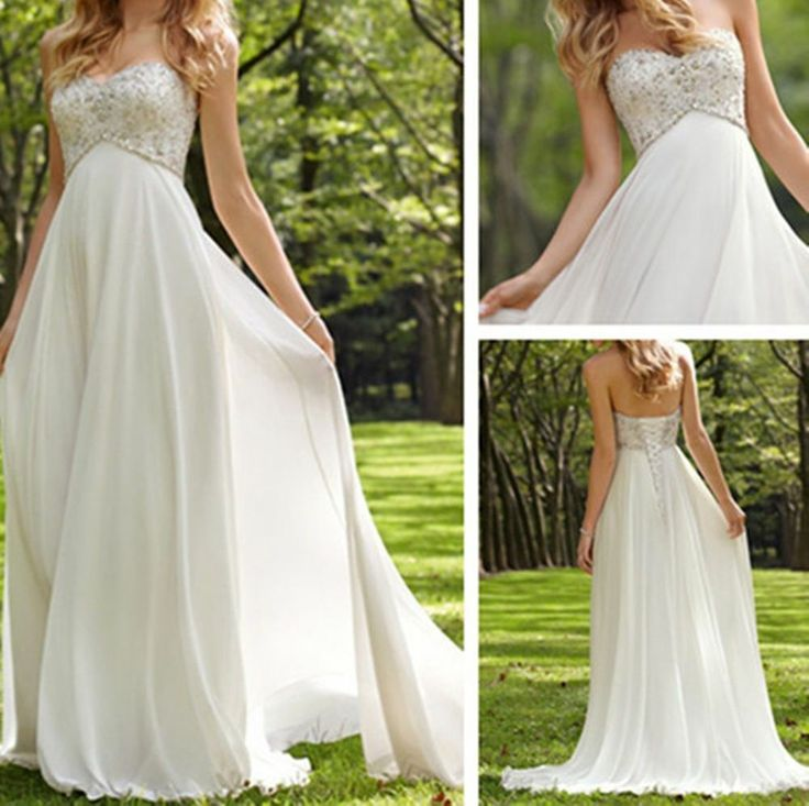 WhiteIvory Chiffon Beaded Long Bride Maternity Wedding Dress Formal Bridal Gown