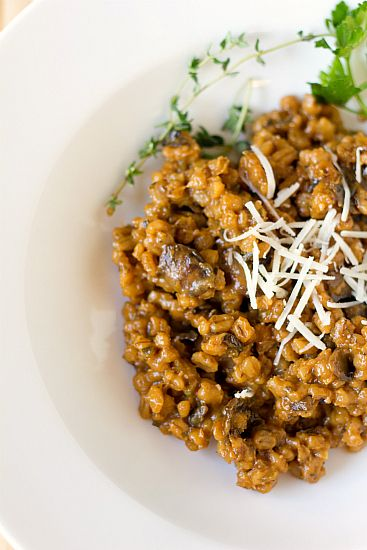 Mushroom Barley Risotto. I love risotto...excited to try barley in place of arborio rice for a healthier dish!