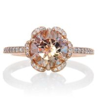 Rose Gold Morganite Ring 14K Diamond Halo Solitaire ...