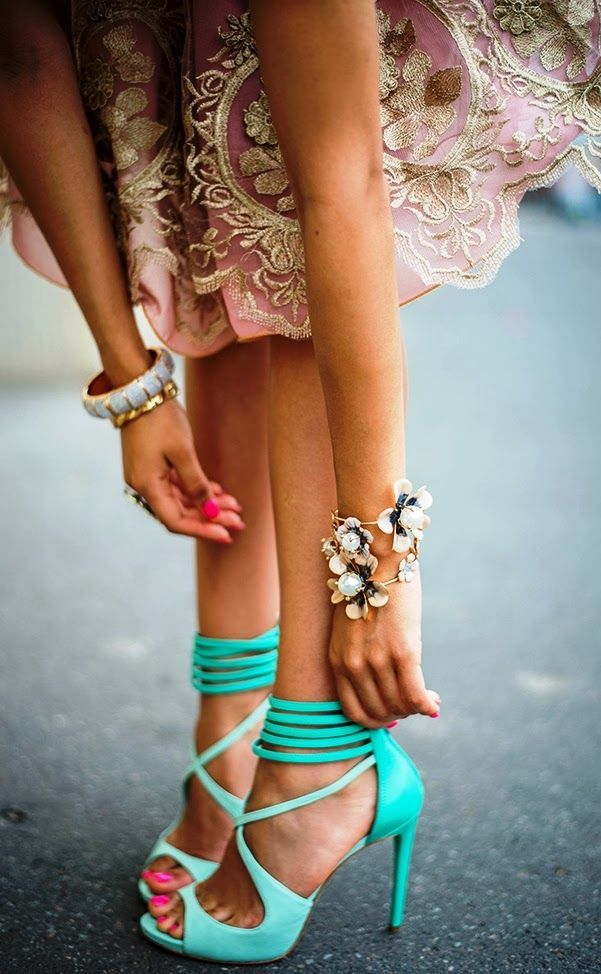 Strappy mint-colored shoes