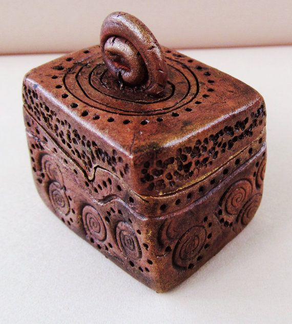 Miniature Carved Clay Box