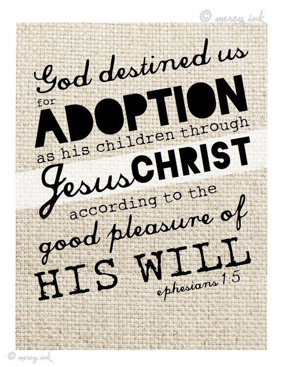 ADOPTION Scripture Print // Ephesians 1:5 Bible Verse // Faith Art · MERCY iNK · Online Store Powered by Storenvy