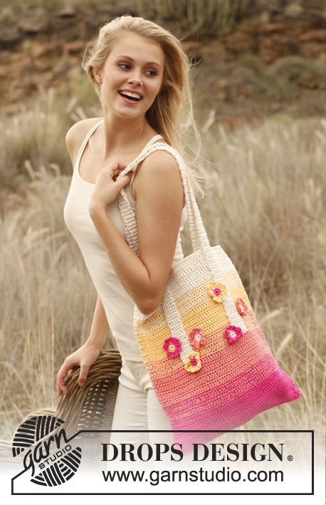 Crochet DROPS bag in 2 strands Safran