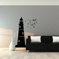 Wall Decal : Lighthouse and Flock of Birds Nautical Vinyl ...