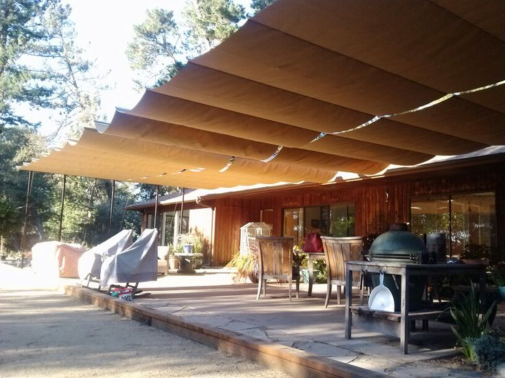 Cable and Canvas patio cover  bathroom  Pinterest
