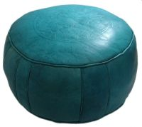 Turquoise Round Leather Ottoman | For the Kids | Pinterest