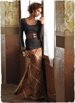 """Must make this plaid taffeta skirt!!!! Traditional plaid is given a glamorous makeover. Bias cut with a dramatic fishtail hem, our lined, floor-grazing, 41"""" skirt in lustrous, copper taffeta is elegance incarnate."""