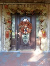 ideas... for the front door. Fall deco mesh door garland ...