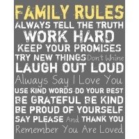 Family Rules Wall Art in Charcoal   home ideas   Pinterest