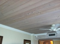 Wood ceiling and white crown molding. | Home Sweet Home