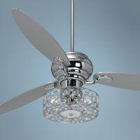 "60"" Spyder Chrome Ceiling Fan with Crystal Discs Light Kit"