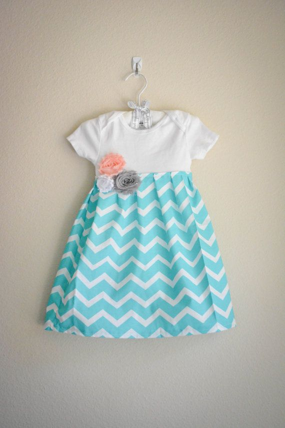 Chevron baby clothing, Gray and aqua infant dress with fabric by SweetStrawberryShop, $26.00
