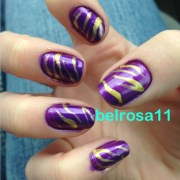 purple and yellow tiger striped