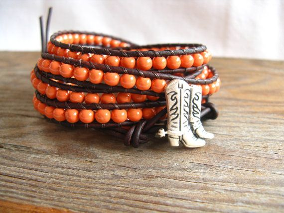Coral 5x Wrap Leather Bracelet