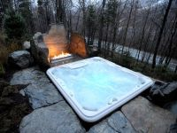 hot tub next to fire pit | Dream home ideas | Pinterest