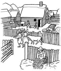 New England Colonial House Coloring Pages