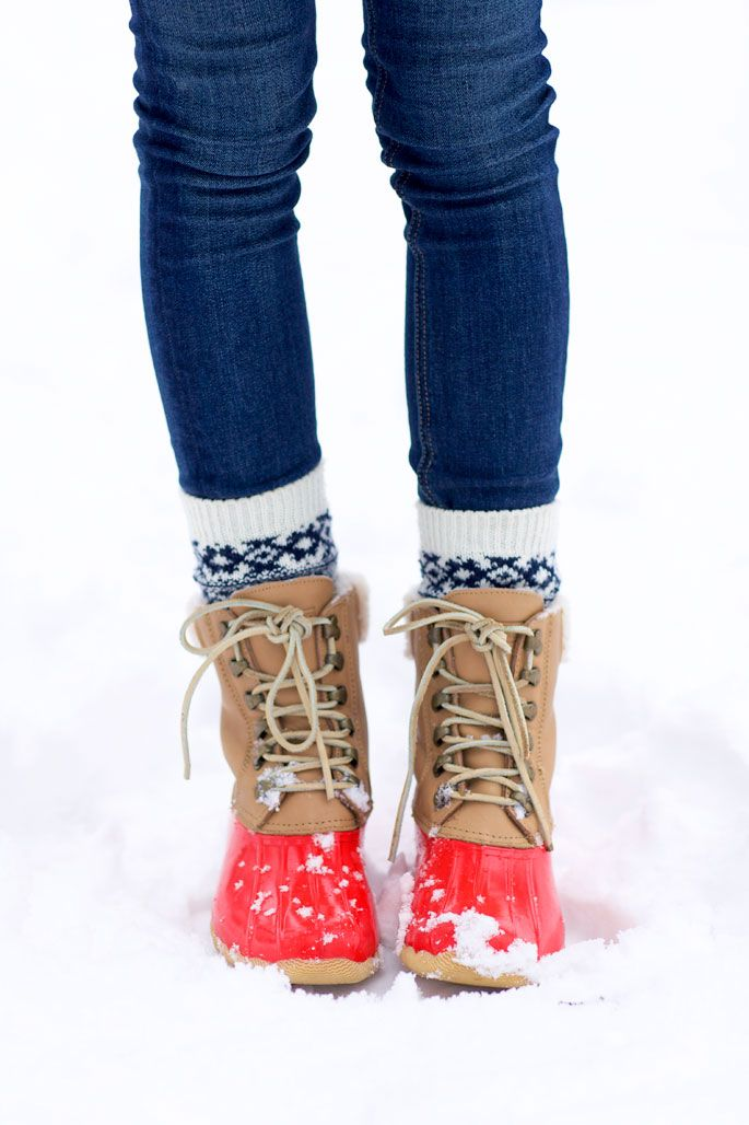 cozy socks layered with snow boots.