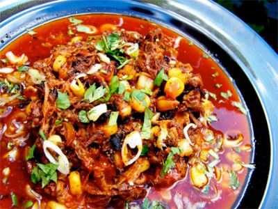 Posole - pork hominy corn chiles