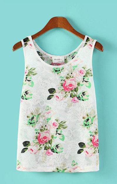 O-neck Sleeveless Floral Printed T-shirt Vest