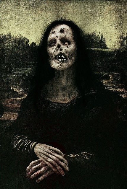 #MonaLisa Hmm, to pin on my Mona Lisa board or my I love Zombies board??