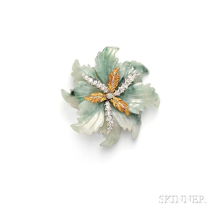 18kt Gold, Jade, and Diamond Flower Brooch, Mario Buccellati | Sale Number 2746B, Lot Number 599 | Skinner Auctioneers