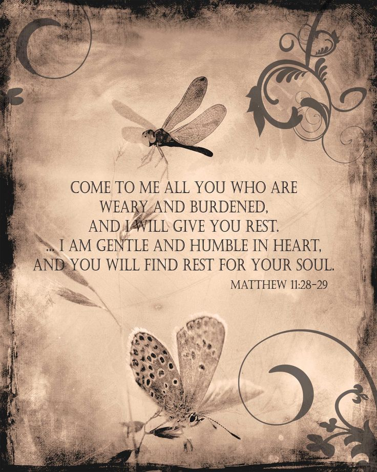 "Matthew 11:28-29 - ""Come to me all you who are weary and burdened, and I will give you rest... I am gentle and humble in heart, and you will find rest for your soul."""