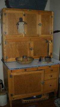 Antique Hoosier Cabinet Cupboard Spice Jars flour bin