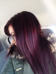 dark brown violet hair with plum