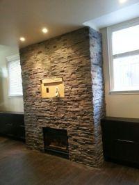Stone veneer fireplace | Fireplaces | Pinterest