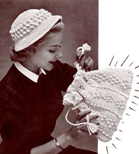 Crocheted Hat & Bag - free vintage pattern originally published in Today's Crochet Book, Book No. 115.