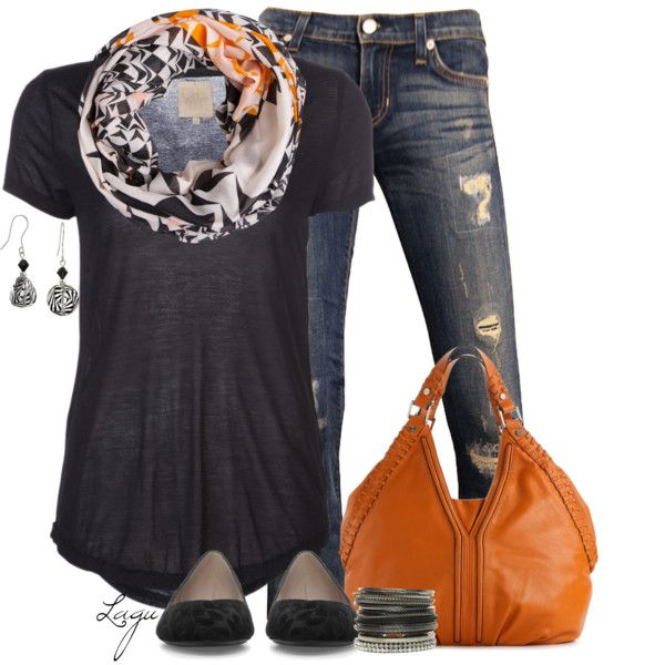 "Basic black tee, great scarf, jeans, flats and a pop of orange in the bag. If you can't wear orange you can bring it in this way. ""Orange!"" by lagu on Polyvore"