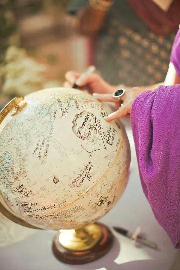 libro de firmas boda globo terráqueo