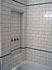 White subway tile with dark grout | Tommy | Pinterest