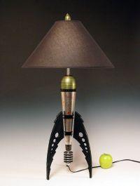 Table Lamp. Atomic retro rocket lamp. Metallic peridot and ...
