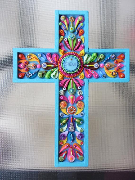 Decorative Wall Cross Shine. Cross Art Deco Vintage