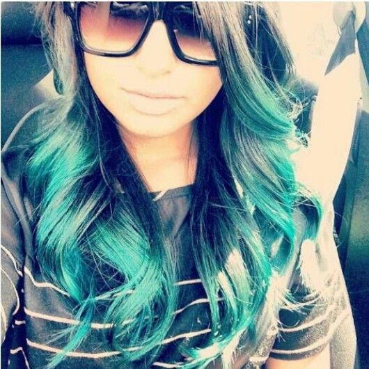 Turquoise ombre hair color
