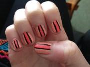 coral and black nails