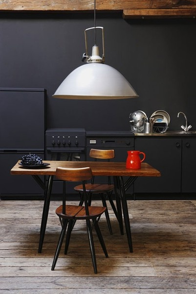 Big lamp, dark kitchen