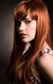 nice long red hair with bangs