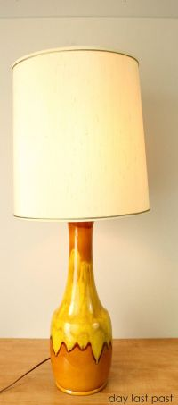 Mid Century Table Lamp -- Orange, Yellow and Brown Drip ...