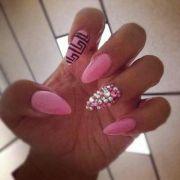 #pink #rhinestone #stiletto nails