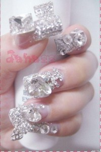 Luxury 3D diamond nail... | Fa- crazy nail art | Pinterest