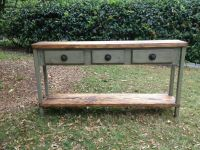 Distressed wood console table or sofa table 60 inch