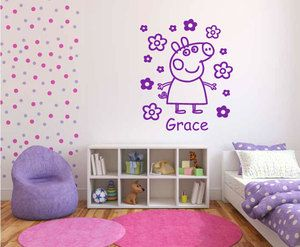 peppa pig wall bedroom stickers personalised sticker