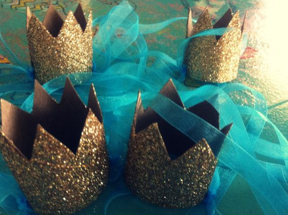 set of 12 mini GOLD GLITTER crowns Sparkle Princess or Prince fascinator party hat on Etsy, $18.00