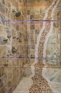 mosaic waterfall in shower | Bathroom Designs | Pinterest